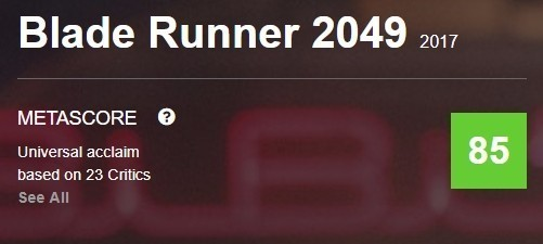 """""""Бегущий по лезвию 2049"""" - рейтинг на Metacritic"""